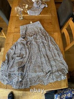 Alexandra Miro Black & White Penelope gingham cotton maxi skirt Size M, Box B
