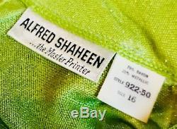 Alfred Shaheen Signed Maxi Long Skirt Top Belt Set Asian Black Green Rare Mint