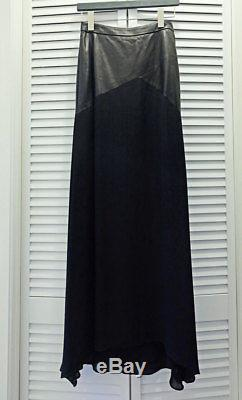Alice + Olivia Cheyleigh Leather and Silk Skirt Size US 0