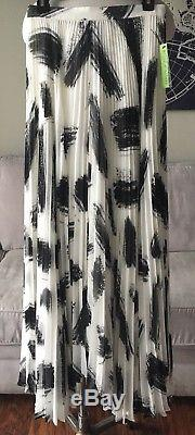 Alice + Olivia Shannon Pleated Maxi Skirt Brush Print Size 4 $600 New NWT
