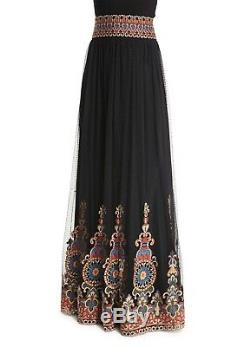 Alice + Olivia Sidney Off Shoulder & Savanna Embroidered Maxi Skirt Set Size 4