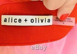 Alice + Olivia Tavi Pleated Colorblock Long Red Pink Maxi Skirt Sz 4 Retail $595