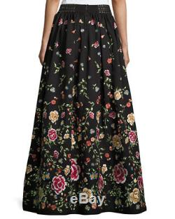 Alice + Olivia Womens Black Multi Embroidered Long Ball-Gown Evening Skirt Sz 4