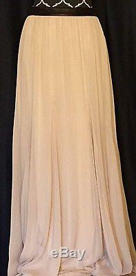 Alice+Olivia by Stacey Bendet Nude Lamb Leather Trim Full Maxi Skirt sz 8NWT