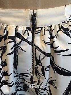 Alice and Olivia Maxi Skirt Long White Black Floral Satin Wedding NWT Sz 6