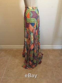 Alice and Olivia Skirt Shannon Maxi Collage Stripe Pleated Multi-Color NWT Sz 12
