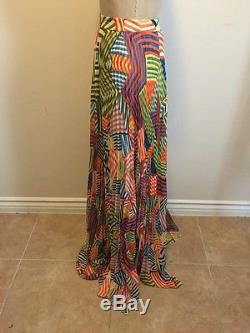 9d6b0c87d2 Alice and Olivia Skirt Shannon Maxi Collage Stripe Pleated Multi-Color NWT  Sz 12