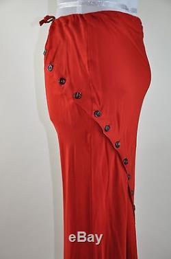 Ann Demeulemeester Red Maxi Asymmetrical Origami Skirt sz 34 Retail $1595.00