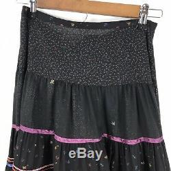 Anna Konya Black Gypsy Hippie Boho Festival Vintage 70's 80's Long Skirt Sz. M