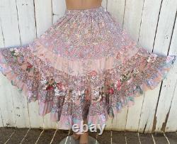 Anna Konya Tiered Gypsy Boho Floral Romance Skirt Cottage Core One Size