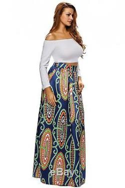 Annflat Women's African Floral Print Maxi Skirts A Line Long Skirts With Pocket