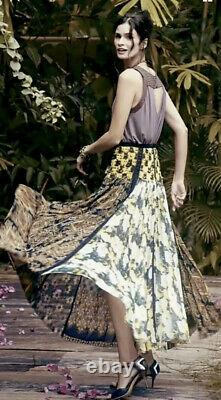 Anthropologie Beguile By Byron Lars Pleated Petal Patch Maxi Skirt Size 4