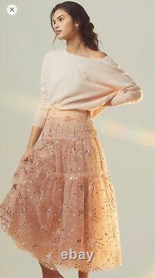 Anthropologie Edita Sequined Tulle Maxi Skirt