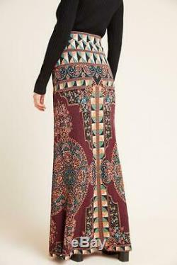 Anthropologie Farm Rio Mosaic Tile Stretch Slim Knit Long Maxi Skirt Medium