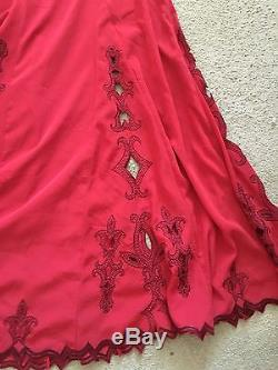 Anthropologie Free People Fleur Godet Maxi Skirt Red Gorgeous