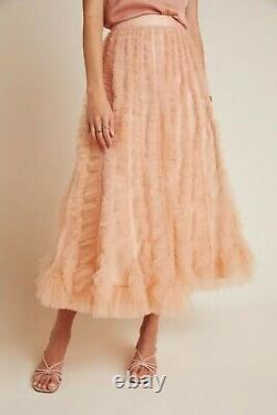 Anthropologie Geisha Designs Spenser Tulle Maxi Skirt Peach Beige sz XL NWT