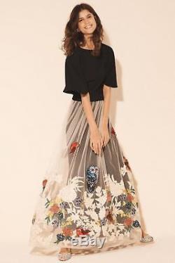 Anthropologie Hidden Forest Maxi Skirt Varun Bahl Owl Birds Embellished L new