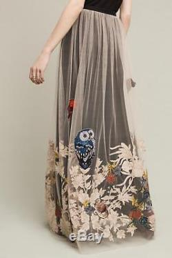 Anthropologie Hidden Forest Maxi Skirt Varun Bahl Owl Birds Embellished L new