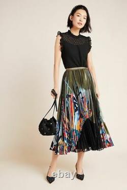 Anthropologie New Lisabetta Pleated Maxi Skirt Size L NWT