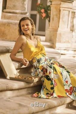 Anthropologie Rococo Sand Aprile Yellow Floral Maxi Long Panelled Skirt