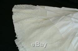 Antique Bridal Gown Petticoat Slip Maxi Long Skirt Ivory Crochet Lace Hem W-24