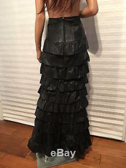 Auth. CHANEL Runway'01A Black Calfskin Leather Layered Ruffles Maxi Skirt sz 38