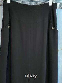 Authentic Chanel black wool dress skirt size 42 made in France