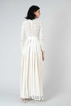 Authentic Self-Portrait White L/S Maxi Dress with Lace Top & Pleated Skirt Size 0