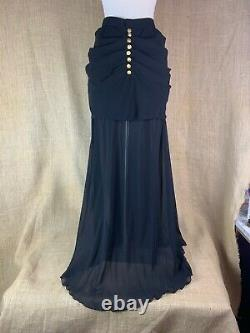 Authentic Vintage Chanel Black Draped Mini with Silk Chiffon Overlay Size 38/40