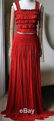 Azzedine Alaia Shirred Ruched Crop Top And Maxi Skirt Uk 8
