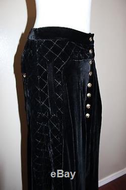 BALMAIN Rare Black Quilted Velvet Gold Front Buttons Maxi Skirt 38