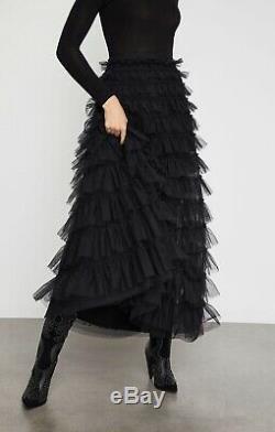 BCBG MaxAzria Black Tiered Tulle Ruffle Maxi Skirt Black Long New Sz XXS $398