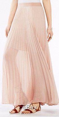 BCBG NWT Estel Pleated Bare Pink Skirt New L SJG3E723