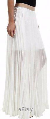 BCBG NWT Esten White Pleated Party Skirt New M SJG3D155