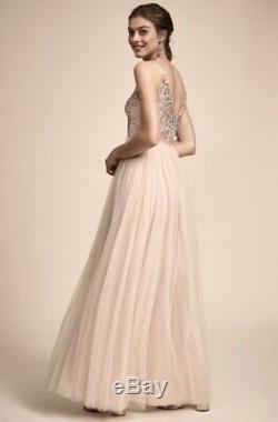BHLDN Gown Dress Wedding Party oyster Beaded & Sequin Tulle Skirt V Neck 4 New