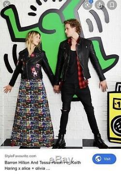 BNWT Alice And Olivia Rare Long Maxi Beaded Long Skirt Keith Haring 6 $1299