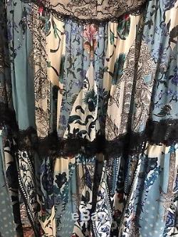 BNWT Roberto Cavalli Lace trimmed printed silk chiffon tiered maxi skirt $1197