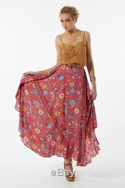 BNWT Spell Designs LOVEBIRD HALF MOON Maxi Skirt in Rose Size S