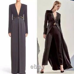 BRANDON MAXWELL Runway Black Cutout Waist V-Neck Maxi Skirt Coat Topper Gown 8