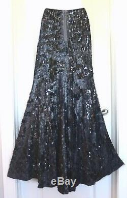 BYRON LARS Size 8 Heathered Sequin Gray Maxi Skirt Slit Toggles Party NWT $848