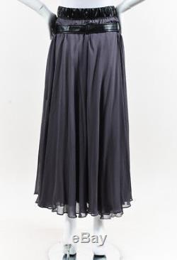 Balenciaga Gray Silk Blend Leather Belted Flowy Maxi Skirt SZ 40