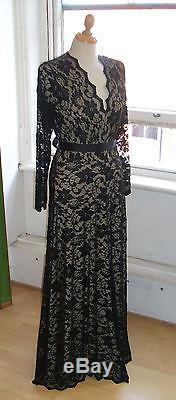 Baylis Knight Black Nude LACE Long Sleeve MAXI KATE Flared Skirt Low Cut Dress