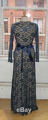 Baylis Knight Blue Nude LACE Long Sleeve MAXI KATE Flared Skirt Low Cut Dress
