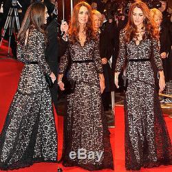 Baylis Knight Grey Ivory LACE Long Sleeve MAXI KATE Flared Skirt Low Cut Dress