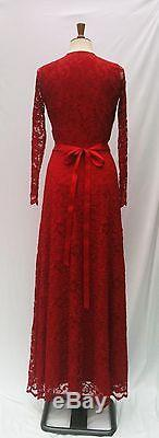 Baylis & Knight Ruby Red LACE Long Sleeve MAXI KATE Flared Skirt Low Cut Dress