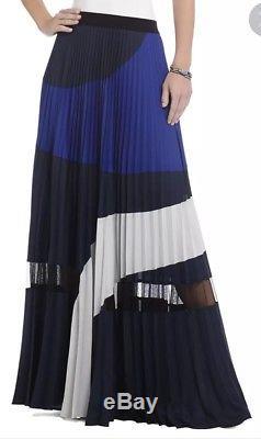 Bcbg Max Azria Christy Skirt Womens Medium Maxi Pleated Blue M Color Block NEW