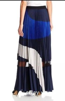 Bcbg Max Azria Womens Medium Christy Skirt Maxi Pleated Blue M Color Block NEW