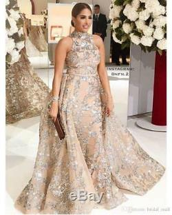 Beaded Sequins Appliques Mermaid Formal Evening Gown with Over Skirt Prom Dress