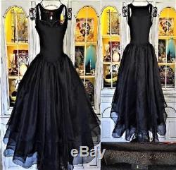 Betsey Johnson VINTAGE LUXE Dress BALLET Black LAYERED SHEER SKIRT Long Maxi M 8