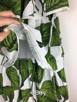 Binny sz 6 green white leaf tiered ruffle women maxi skirt print designer Linen